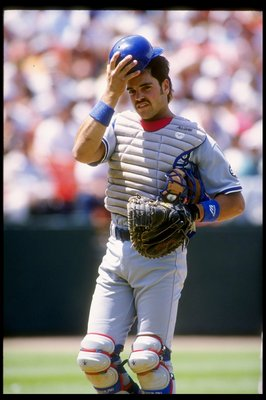28 Jul 1993:  Catcher Mike Piazza of the Los Angeles Dodgers looks on during a game against the San Francisco Giants at Candlestick Park in San Francisco, California. Mandatory Credit: Otto Greule  /Allsport