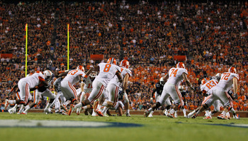 AUBURN, AL - SEPTEMBER 18:  Jamie Harper #8 and the offense of the Clemson Tigers against the Auburn Tigers at Jordan-Hare Stadium on September 18, 2010 in Auburn, Alabama.  (Photo by Kevin C. Cox/Getty Images)