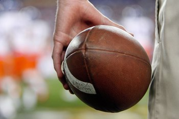 GLENDALE, AZ - JANUARY 04:  A detailed picture of a football during the Fiesta Bowl between the Boise State Broncos and the TCU Horned Frogs at the Universtity of Phoenix Stadium on January 4, 2010 in Glendale, Arizona.  (Photo by Christian Petersen/Getty