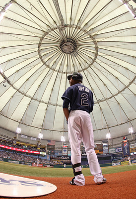 ST PETERSBURG, FL - OCTOBER 07:  B.J. Upton #2 of the Tampa Bay Rays waits on deck during Game 2 of the ALDS against the Texas Rangers at Tropicana Field on October 7, 2010 in St. Petersburg, Florida.  (Photo by Mike Ehrmann/Getty Images)