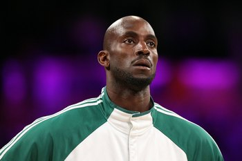 LOS ANGELES, CA - JUNE 17:  Kevin Garnett #5 of the Boston Celtics warms up before Game Seven of the 2010 NBA Finals against the Los Angeles Lakers at Staples Center on June 17, 2010 in Los Angeles, California.  NOTE TO USER: User expressly acknowledges a