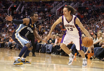 PHOENIX - NOVEMBER 05:  Steve Nash #13 of the Phoenix Suns drives the ball during the NBA game against the Memphis Grizzlies at US Airways Center on November 5, 2010 in Phoenix, Arizona.  The Suns defeated the Grizzlies 123-118 in double overtime.  NOTE T