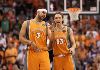 PHOENIX - MAY 05:  Jared Dudley #3 and Steve Nash #13 of the Phoenix Suns during Game Two of the Western Conference Semifinals of the 2010 NBA Playoffs against the San Antonio Spurs at US Airways Center on May 5, 2010 in Phoenix, Arizona. The team is wear