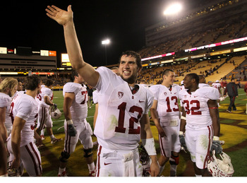 TEMPE, AZ - NOVEMBER 13:   Quarterback Andrew Luck #12 of the Stanford Cardinal waves to the Stanford cheering section after the game with the Arizona State Sun Devils at Sun Devil Stadium on November 13, 2010 in Tempe, Arizona.The Cardinal won 17-13.  (P