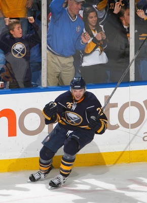 BUFFALO, NY - NOVEMBER 13: Thomas Vanek #26 of the Buffalo Sabres celebrates scoring the winning goal in overtime against the Washington Capitals at HSBC Arena on November 13, 2010 in Buffalo, New York. Buffalo won 3-2 in overtime. (Photo by Rick Stewart/