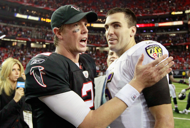 ATLANTA - NOVEMBER 11:  Quarterback Matt Ryan #2 of the Atlanta Falcons converses with quarterback Joe Flacco #5 of the Baltimore Ravens after the Falcons 26-21 win at Georgia Dome on November 11, 2010 in Atlanta, Georgia.  (Photo by Kevin C. Cox/Getty Im