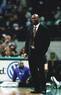 1 Nov 2000:  Head Coach Leonard Hamilton of the Washington Wizards watches the action on the court during the game against the  Charlotte Hornets at the Charlotte Coliseum in Charlotte, North Carolina. The Wizards defeated the Hornets 95-77. NOTE TO USER: