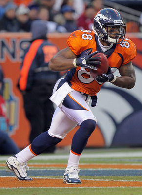 DENVER - NOVEMBER 14:  Demaryius Thomas #88 of the Denver Broncos receives a kick off against the Kansas City Chiefs at INVESCO Field at Mile High on November 14, 2010 in Denver, Colorado. The Broncos defeated the Chiefs 49-29.  (Photo by Doug Pensinger/G
