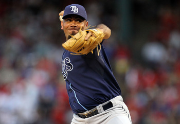 ARLINGTON, TX - OCTOBER 09:  Pitcher Joaquin Benoit #53 of the Tampa Bay Rays throws against the Texas Rangers during game 3 of the ALDS at Rangers Ballpark in Arlington on October 9, 2010 in Arlington, Texas.  (Photo by Ronald Martinez/Getty Images)