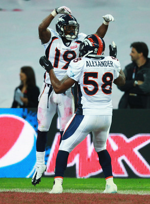 LONDON, ENGLAND - OCTOBER 31:  Eddie Royal #19 of Denver Broncos and Kevin Alexander #58 of Denver Broncos celebrate a touchdown that was subsequently disallowed during the NFL International Series match between Denver Broncos and San Francisco 49ers at W