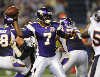 MINNEAPOLIS - SEPTEMBER 2:  Tarvaris Jackson #7 of the Minnesota Vikings passes the ball during an NFL preseason game against the Denver Broncos at the Mall of America Field at Hubert H. Humphrey Metrodome, on September 2, 2010 in Minneapolis, Minnesota.