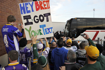 GREEN BAY, WI - OCTOBER 24:  Green Bay Packer fans wait for Brett Favre and the Minnesota Vikings to get off the bus at Lambeau Field on October 24, 2010 in Green Bay, Wisconsin. (Photo by Jim Prisching/Getty Images)
