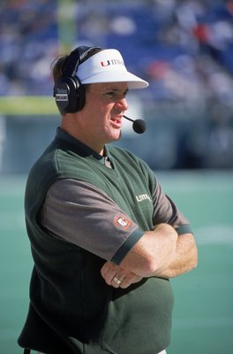 21 Oct 2000:  Head Coach Butch Davis of the Miami Hurricanes watches the acction from the sidelines during the game against the Temple Owls at the Veterans Stadium in Philadelphia, Pennsylvania. The Hurricanes defeated the Owls 45-17.Mandatory Credit: Dou