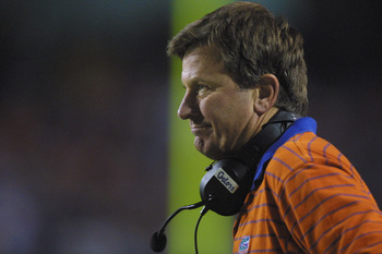 TAMPA BAY, FL - NOVEMBER 17:  Head coach Steve Spurrier of the Florida Gators stands on the field during the NCAA football game against the Florida State Seminoles on November 17, 2001 at Raymond James Stadium in Tampa Bay, Florida. Florida won 37-13. (Ph