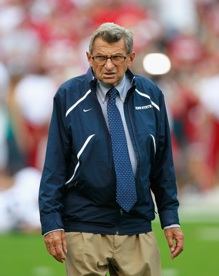 TUSCALOOSA, AL - SEPTEMBER 11:  Head coach Joe Paterno of the Penn State Nittany Lions during warmups before facing the Alabama Crimson Tide at Bryant-Denny Stadium on September 11, 2010 in Tuscaloosa, Alabama.  (Photo by Kevin C. Cox/Getty Images)