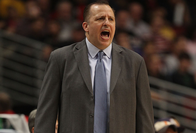 CHICAGO - NOVEMBER 11: Head coach Tom Thibodeau of the Chicago Bulls gives instructions to his team against the Golden State Warriors at the United Center on November 11, 2010 in Chicago, Illinois. The Bulls defeated the Warriors 120-90. NOTE TO USER: Use