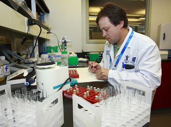 RICMOND, CANADA - OCTOBER 21:  Research technician Gerard Dussault tests samples inside the anti-doping lab at the Olympic Oval October 21, 2009 in Richmond, Canada. The lab, which is located inside the Olympic Oval, will test over 2,000 samples during th