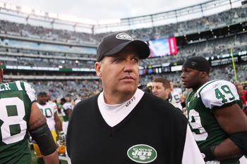 EAST RUTHERFORD, NJ - OCTOBER 31:  Rex Ryan, head couch of the New York Jets walks off the field at the end of a game against the Green Bay Packers on October 31, 2010 at the New Meadowlands Stadium in East Rutherford, New Jersey. The Packers defeated the