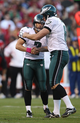 SAN FRANCISCO - OCTOBER 10: David Akers #2 of the Philadelphia Eagles celebrates with Sav Rocca #6 after kicking a field goal against the San Francisco 49ers during an NFL game at Candlestick Park on October 10, 2010 in San Francisco, California.  (Photo