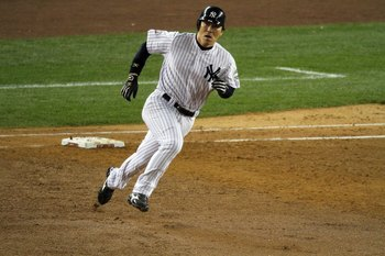 NEW YORK - NOVEMBER 04:  Hideki Matsui #55 of the New York Yankees rounds firts base on his 2-run double in the bottom of the fifht inning against the Philadelphia Phillies in Game Six of the 2009 MLB World Series at Yankee Stadium on November 4, 2009 in