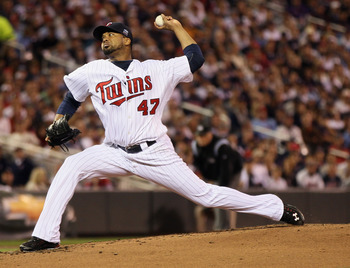 MINNEAPOLIS - OCTOBER 06: Francisco Liriano #47 of the Minnesota Twins delivers a pitch in the second inning against the New York Yankees during game one of the ALDS on October 6, 2010 at Target Field in Minneapolis, Minnesota.  (Photo by Elsa/Getty Image