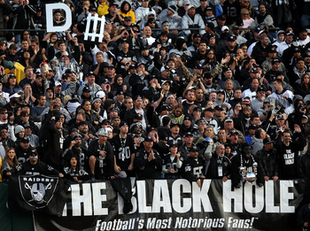 OAKLAND, CA - NOVEMBER 07: Fans of the Oakland Raiders look on against of the Kansas City Chiefs during an NFL game at Oakland-Alameda County Coliseum on November 7, 2010 in Oakland, California.  (Photo by Jed Jacobsohn/Getty Images)
