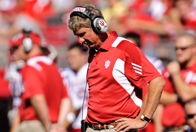 COLUMBUS, OH - OCTOBER 9:  Head coach Bill Lynch of the Indiana Hoosiers looks down at the field after finding out his team did not make a first down on a short yardage play against the Ohio State Buckeyes at Ohio Stadium on October 9, 2010 in Columbus, O