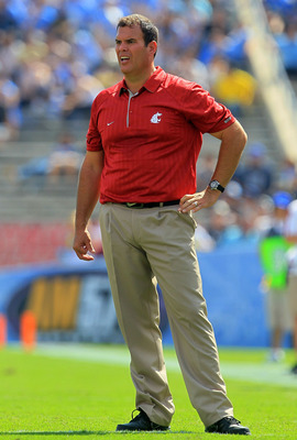 PASADENA, CA - OCTOBER 02:  Washington State Cougars head coach Paul Wulff watches the game against the UCLA Bruins at the Rose Bowl on October 2, 2010 in Pasadena, California. UCLA defeated Washington State 42-28.  (Photo by Jeff Gross/Getty Images)