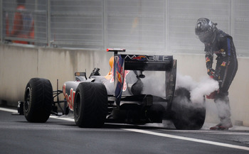 Vettel plays fireman Seb on his RB6