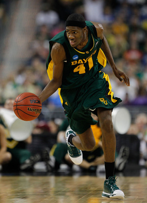 HOUSTON - MARCH 28: Anthony Jones #41 of the Baylor Bears breaks up the court after a steal against the Duke Blue Devils during the south regional final of the 2010 NCAA men's basketball tournament at Reliant Stadium on March 28, 2010 in Houston, Texas. (