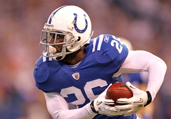 INDIANAPOLIS - NOVEMBER 14: Kelvin Hayden #26 of the Indianapolis Colts runs with the ball after intercepting a pass during the NFL game against the Cincinnati Bengals at Lucas Oil Stadium on November 14, 2010 in Indianapolis, Indiana. The Colts won 23-17