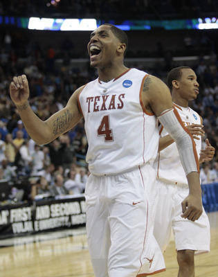 NEW ORLEANS - MARCH 18:  Gary Johnson #4 of the Texas Longhorns reacts at the end of regulation when they tied the Wake Forest Demon Deacons during the first round of the 2010 NCAA mens basketball tournament at the New Orleans Arena on March 18, 2010 in N