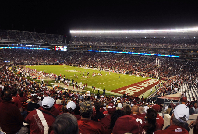 TUSCALOOSA, AL - NOVEMBER 13: Fans of the Alabama Crimson Tide watch play against the Mississippi State Bulldogs November 13, 2010 at Bryant-Denny Stadium in Tuscaloosa, Alabama.  (Photo by Al Messerschmidt/Getty Images)