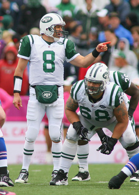 ORCHARD PARK, NY - OCTOBER 03: Mark Brunell #8  of the New York Jets calls signals against  the Buffalo Bills at Ralph Wilson Stadium on October 3, 2010 in Orchard Park, New York. The Jets won 38-14. (Photo by Rick Stewart/Getty Images)