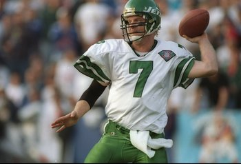 4 Dec 1994:  Quarterback Boomer Esiason of the New York Jets looks to pass the ball during a game against the New England Patriots at Foxboro Stadium in Foxboro, Massachusetts.  The Patriots won the game, 24-13. Mandatory Credit: Rick Stewart  /Allsport
