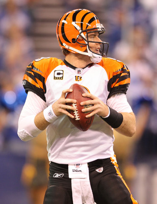 INDIANAPOLIS - NOVEMBER 14:  Carson Palmer #9 of the Cincinnati Bengals looks to throw the ball during the Bengals 23-17 loss to the Indianapolis Colts in the NFL game at Lucas Oil Stadium on November 14, 2010 in Indianapolis, Indiana. The Colts won 23-17