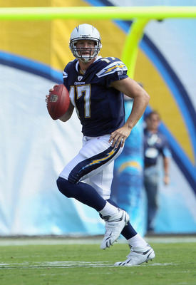 SAN DIEGO - OCTOBER 03:  Quarterback Philip Rivers #17 of the San Diego Chargers drops back to pass against the Arizona Cardinals at Qualcomm Stadium on October 3, 2010 in San Diego, California. The Chargers defeated the Cardinals 41-10.  (Photo by Jeff G