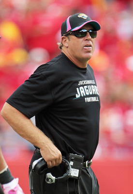 KANSAS CITY, MO - OCTOBER 24:  Head coach Jack Del Rio of the Jacksonville Jaguars watches from the sidelines during the game against the Kansas City Chiefs on October 24, 2010 at Arrowhead Stadium in Kansas City, Missouri.  (Photo by Jamie Squire/Getty I