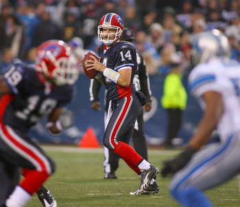 ORCHARD PARK, NY - NOVEMBER 14: Ryan Fitzpatrick #14 of the Buffalo Bills readies to throw against the Detroit Lions at Ralph Wilson Stadium on November 14, 2010 in Orchard Park, New York. Buffalo won 14-12. (Photo by Rick Stewart/Getty Images)