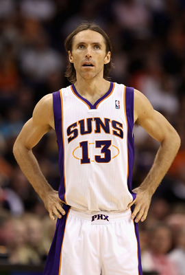 PHOENIX - NOVEMBER 05:  Steve Nash #13 of the Phoenix Suns during the NBA game against the Memphis Grizzlies at US Airways Center on November 5, 2010 in Phoenix, Arizona.  The Suns defeated the Grizzlies 123-118 in double overtime.  NOTE TO USER: User exp