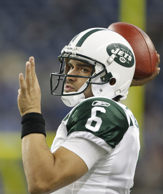 DETROIT - NOVEMBER 7: Mark Sanchez #6 of the New York Jets warms up prior to the start of the game against the Detroit Lions at Ford Field on November 7, 2010 in Detroit, Michigan. (Photo by Leon Halip/Getty Images)