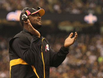 NEW ORLEANS - OCTOBER 31: Head coach Mike Tomlin of the Pittsburgh Steelers looks on during the game against the New Orleans Saints at the Louisiana Superdome on October 31, 2010 in New Orleans, Louisiana. (Photo by Matthew Sharpe/Getty Images)