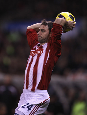 STOKE ON TRENT, ENGLAND - NOVEMBER 13:  Rory Delap of Stoke City takes a throw in during the Barclays Premier League match between Stoke City and Liverpool at Britannia Stadium on November 13, 2010 in Stoke on Trent, England.  (Photo by Clive Brunskill/Ge