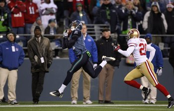 SEATTLE - DECEMBER 6:  Deon Butler #11 of the Seattle Seahawks makes a leaping catch during their NFL game against the San Francisco 49ers on December 6, 2009 at Qwest Field in Seattle, Washington. The Seahawks defeated the 49ers 20-17. (Photo by Otto Gre