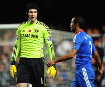 LONDON, ENGLAND - NOVEMBER 14:  Petr Cech and Ashley Cole of Chelsea looks dejected as Danny Welbeck scores Sunderland's third goal during the Barclays Premier League match between Chelsea and Sunderland at Stamford Bridge on November 14, 2010 in London,