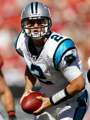 TAMPA, FL - NOVEMBER 14:  Quarterback Jimmy Clausen #2 of the Carolina Panthers looks to hand the ball off against the Tampa Bay Buccaneers during the game at Raymond James Stadium on November 14, 2010 in Tampa, Florida.  (Photo by J. Meric/Getty Images)