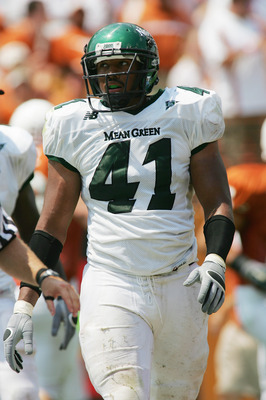 AUSTIN, TX - SEPTEMBER 2:  Maurice Holman #41 of the North Texas Eagles looks on against the Texas Longhorns on September 2, 2006 at Texas Memorial Stadium in Austin, Texas. The Longhorns defeated the Eagles 56-7. (Photo by Ronald Martinez/Getty Images)