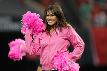 ATLANTA - OCTOBER 24:  An Atlanta Falcons cheerleader performs during the game against the Cincinnati Bengals at Georgia Dome on October 24, 2010 in Atlanta, Georgia.  (Photo by Kevin C. Cox/Getty Images)