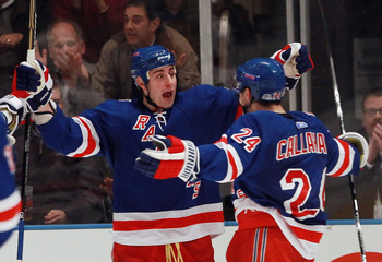 NEW YORK - NOVEMBER 01: (L-R) Brandon Dubinsky #17 and Ryan Callahan #24 of the New York Rangers celebrate Dubinsky's second goal of the game at 55 seconds of the third period against the Chicago Blackhawks at Madison Square Garden on November 1, 2010 in