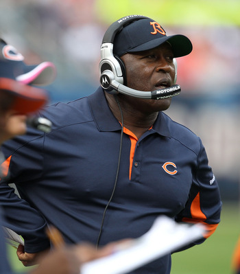 CHICAGO - OCTOBER 24: Head coach Lovie Smith of the Chicago Bears watches as his team takes on the Washington Redskins at Soldier Field on October 24, 2010 in Chicago, Illinois. The Redskins defeated the Bears 17-14. (Photo by Jonathan Daniel/Getty Images